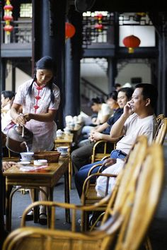 Chengdu, China, is famous for its tea houses :)  Been there ounce, but I hope to study abroad there next summer!