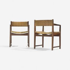 Peter Hvidt and Orla Mølgaard-Nielsen armchairs, pair Søborg Møbelfabrik Denmark, 1958 teak, rosewood, cane 24.5 w x 20 d x 29.75 h inches Literature: Illums Bolighus: Center of Modern Design, distributor's catalog, 1961, unpaginated