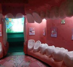 Sala de espera de um dentista criativo