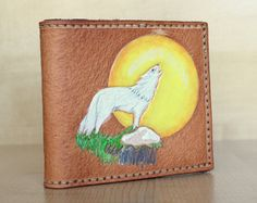 Handcrafted Leather Wallet with White Howling Wolf / Moon Design - of the day heart Wolf Paw Print, Wolf Moon, Wolf Howling, Moon Design, Baby Boots, Gifts For Dad, Leather Wallet, How To Draw Hands, My Etsy Shop