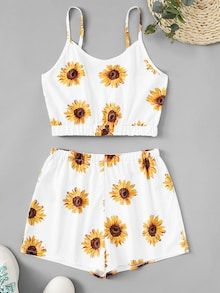 Shop Sunflower Print Cami Top With Shorts online. ROMWE offers Sunflower Print Cami Top With Shorts & more to fit your fashionable needs. Cute Lazy Outfits, Kids Outfits Girls, Teenager Outfits, Pretty Outfits, Stylish Outfits, Girls Fashion Clothes, Summer Fashion Outfits, Cute Fashion, Fashion Styles
