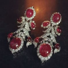 David Webb. Beautiful ruby and diamond earrings. #davidwebbjewels