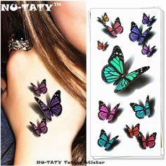 NU-TATY 놀라운 나비 3d 임시 문신 바디 아트 플래시 문신 스티커 19*9 센치메터 방수 문신 홈 장식 벽 스티커