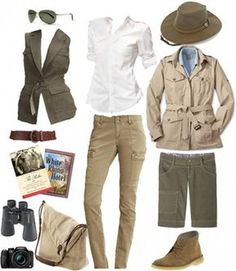 What to Wear on a South African Safari in July - I noted the proliferation of clothes that smacked of a safari—microfiber fishing shirts with epaulets, floppy-brimmed hats, and shorts with enough pockets to carry a week's worth of rations. Safari Outfit Women, Safari Outfits, Safari Clothes, Safari Costume Women, Mode Safari, Safari Chic, Jungle Safari, How To Have Style, My Style