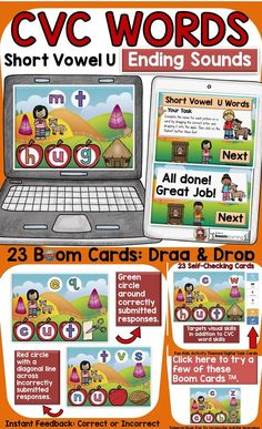 The kids-activity-themed digital Boom Cards will reinforce students' understanding and spelling of final consonants (ending sounds) of CVC Short Vowel U words. Phonemic Awareness Activities, Social Studies Resources, Teaching Phonics, English Reading, Short Vowels, Australian Curriculum, Cvc Words, Fun Activities For Kids, Task Cards