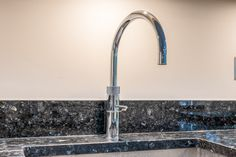 Quooker Fusion Tap in Chrome above an undermounted sink mounted in Blue Pearl Granite Blue Pearl Granite, Real Kitchen, Shaker Kitchen, Undermount Sink, Real Wood, Alchemy, Illusions, Kitchens, Chrome