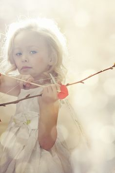 Beautiful portrait. ♥  Photo Session Ideas | Props | Prop | Child Photography | Clothing Inspiration| Pose Idea | Poses | Dreamy | Love | Cupid | Valentine | Little Girl