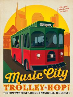 Music City Trolley Hop - The Music City Trolley Hop is a great way to see Nashville! For years, Gray Line Tours has operated a fleet of charming trolley buses that run every 15 minutes around a continuous loop of downtown Nashville. The trolley stops at several famous landmarks including the Anderson Design Group Studio Store—home of the Spirit of Nashville Collection!