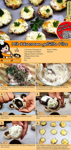 Mit Käsecreme gefüllte Pilze Mushrooms filled with cheese cream are a wonderful accompaniment to many dishes. You can easily find the mushroom filled mushroom video with the help of the QR code :] # Stuffed Mushrooms # Cheese Cream Cheese Appetizers, Finger Food Appetizers, Appetizer Recipes, Snack Recipes, Healthy Recipes, Mushroom Recipes, Vegetable Recipes, Gourmet Recipes, Cooking Recipes