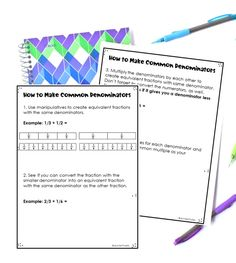 This post shares four ways to teach students to make common denominators when they are adding and subtracting fractions with unlike denominators. Use all four ways or choose the ones that work best for your students. Equivalent Fractions Chart, Adding And Subtracting Fractions, Dividing Fractions, 4th Grade Fractions, Teaching Multiplication, Maths, Fraction Chart, Math Notebooks, Common Core Math