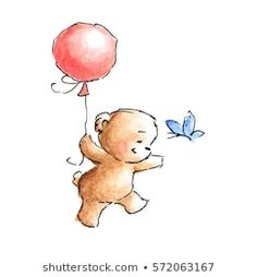 teddy bear with butterfly and balloon drawn in ink and watercolor Nursery Paintings, Happy Paintings, Nursery Art, Butterfly Balloons, Bear Clipart, Bear Drawing, Baby Room Art, Picture Story, Watercolor Bird