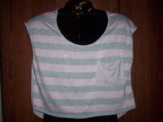 10.61$  Watch now - http://viotr.justgood.pw/vig/item.php?t=ty2nnnn14672 - Pink and Gray Striped Crop Shirt by Twinkle, Sleeveless, Sz.M, NWT 10.61$