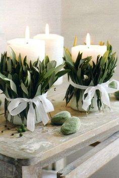 Arredare casa con le candele - Candele con foglie verdi