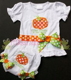 FALL Cutest PUMPKIN In The Patch Bodysuit Onesie or Toddler Shirt and Diaper Cover Bloomer Set for Little Girls - Custom.