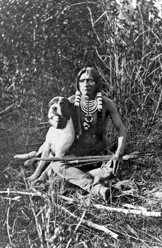 Native American Indian with pitbull