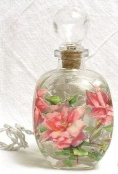 #4 Pink Roses Nightlight ...... Perfume bottle night light from Roses and Teacups