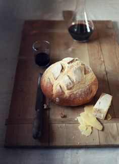 bread, cheese, wine