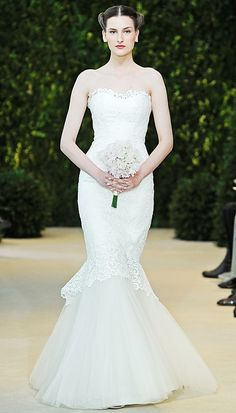 Carolina Herrera Spring 2014 lace and tulle strapless wedding gown