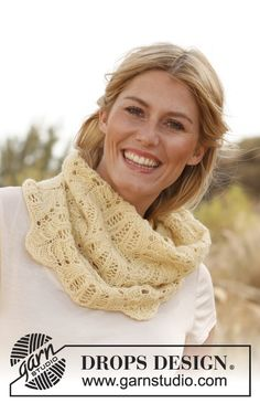 "Buttercream - Scaldacollo DROPS ai ferri con motivo traforato in ""Alpaca"". - Free pattern by DROPS Design"