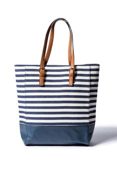 Striped tote bag.