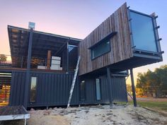 Shipping Container Homes: Kaloorup Shipping Container House, Australia www.prefa… - Build Container Home Shipping Container Homes Australia, Prefab Shipping Container Homes, Container Homes For Sale, Shipping Container Home Designs, Cargo Container Homes, Building A Container Home, Container Cabin, Container House Design, Shipping Containers
