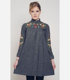 embroidered wool dress