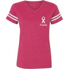 Show your support and raise awareness with this cute custom breast cancer t-shirt. If you are a survivor or have breast cancer or know someone who does, then add their name to the back of this cute shirt with the ribbon on it. Great for 5k runs and walks too!