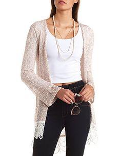 Lace-Trimmed Slub Knit Duster Cardigan: Charlotte Russe