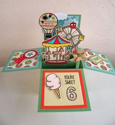 Lawn Fawn 'Admit One' stamps and dies used for fairground Pop Up Box. Box made with Tattered Lace Essentials Pop Up Box Die set