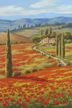 Sung Kim - Red Poppy Field - Fine Art Print - Global Gallery