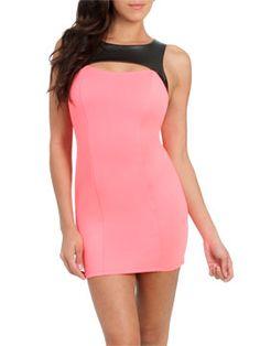 Scuba Leatherette Bodycon Dress from ArdenB.com