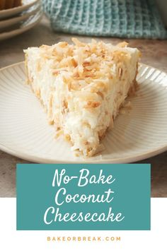 quick and easy No-Bake Coconut Cheesecake is jam-packed with toasted coconu. -This quick and easy No-Bake Coconut Cheesecake is jam-packed with toasted coconu. No Bake Desserts, Easy Desserts, Dessert Recipes, Health Desserts, Baked Cheesecake Recipe, Keto Cheesecake, Homemade Cheesecake, Classic Cheesecake, Homemade Snickers