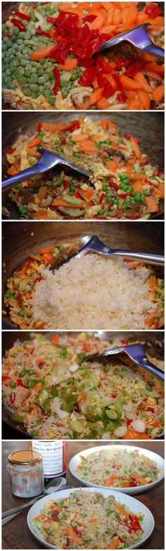 Egg-fried rice with pork and vegetables