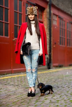 Red coat and sweater.