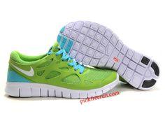 best service d8dee 3bc21 Green Blue Glow Black Nike Free Run 2 Men s Running Shoes Black Nike Free  Runs,