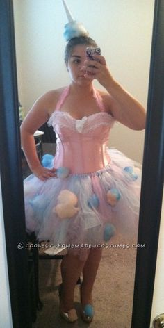 Making this cotton candy costume with tutu and corset is actually a lot easier than it seemed like it would be. It's a little tedious, but I promis. Candy Costumes, Mardi Gras Costumes, Tutu Costumes, Cool Costumes, Candy Floss Costume Ideas, Candy Floss Fancy Dress, Group Costumes, Homemade Cotton Candy, Homemade Halloween Costumes