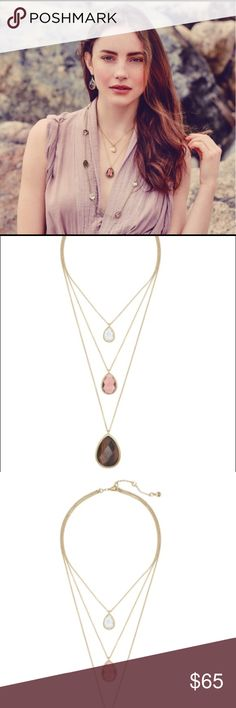 """Chloe + Isabel Minaret Necklace Layer up this season in our signature 3-in-1 convertible style, now in Fall's favorite new hues + worn 12k gold plating. Centered by semi-precious tiger eye paired with light rose + clear glass, these perfectly positioned pendants are infinitely wearable, as they can be layered all together or styled one-by-one! •worn 12k gold-plated •nickel-free plating •16"""", 20"""" + 26"""" approx. length + 2"""" extender •lobster clasp •semi-precious tiger eye, light rose + clear…"""