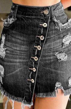 Distressed Button Down Denim Skirt – Browela High Waisted Denim Skirt, Denim Mini Skirt, High Waist Jeans, Jean Délavé, Style Streetwear, Jean Mini Skirts, Asymmetrical Skirt, Body Con Skirt, Ripped Denim