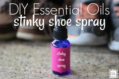 DIY Essential Oils Stinky Shoe Spray - Are you tired of stinky shoes smelling up your closets and cars? This five ingredient DIY spray wil - Essential Oil Spray, Tea Tree Essential Oil, Essential Oil Blends, Essential Oils, Stinky Shoes, Foot Spray, Young Living Oils, Natural Cleaning Products, Time Kids