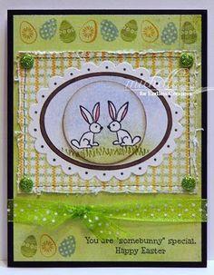 Endless Creations:  Easter Egg Fun Cube, KB's Bun Bun Sm, Grass Border, Swiss Dot  Spellbinder Stamp, Somebunny Special Jelly