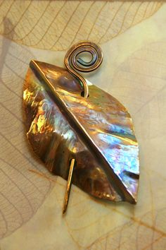 Autumn Leaf   Fold Formed and Hammered Brass by AllowingArtDesigns, $28.00
