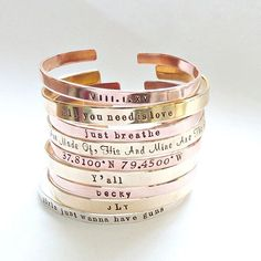 <3 4U from vintagestampjewels --- Personalized Cuff Bracelet Copper Bracelet Inspirational Jewelry Brass Cuff Monogram Bangle Bridesmaid Jewelry Bridesmaid Gift Gift for her --- #handmade #craft #etsy #diy #etsyshop #etsyseller #handcrafted #bracelet #Bracelet