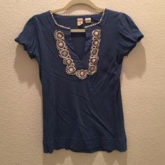 Little Yellow Button Blue Blouse Size XS Little Yellow Button Blue Blouse Size XS with cute little embellishment anthropologie brand Anthropologie Tops Blouses