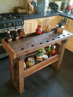 Rustic oak workbench table kitchen island butchers block prep table industrial in Home, Furniture & DIY, Furniture, Kitchen Islands & Carts   eBay
