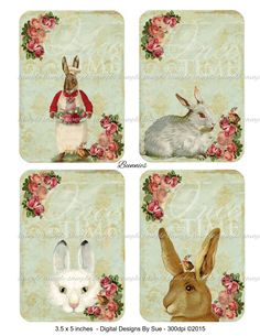 Bunnies - 3.5 x 5 inches -  Printable Digital Collage Sheet - Digital Download by CountryAtHeart2008 on Etsy