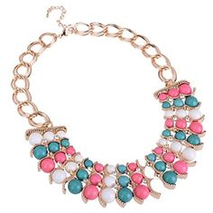 Fashion Gold Tone Chain 3 Row Colorized Resin Beads White Crystal Bib Necklace Jerollin http://www.amazon.com/dp/B00C41B3M2/ref=cm_sw_r_pi_dp_373evb04WBSBB
