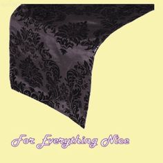 Silver Black Damask Flocking Taffeta Wedding Table Runners Decorations x 10 For Hire by JRMB7339 - $60.00