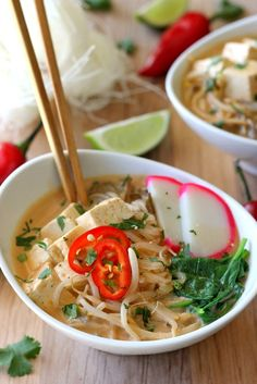 This Thai Red Curry Soup is absolutely delicious! It's strong in flavor, beautiful in presentation, and easy to make. Make sure to serve it to people who aren't shy about slurping noodles and asking for seconds.