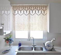 meia cortina em macramê - cortinado para cozinha