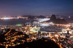Night View of Sugarloaf Mountain, Rio de Janeiro, Brazil